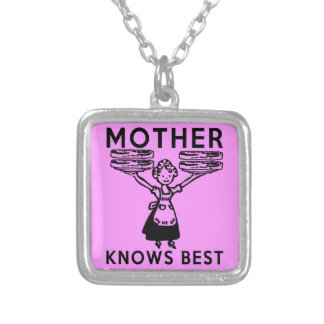 Mother Knows Best: Bacon! Square Pendant Necklace