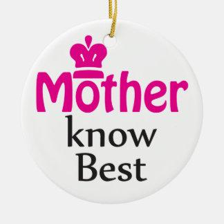 mother knows best round ceramic decoration