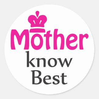 mother knows best round sticker