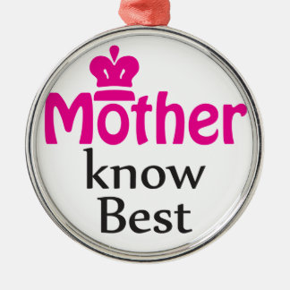 mother knows best Silver-Colored round decoration