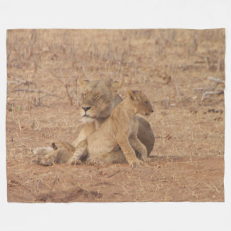 Mother lion and cub fleece blanket