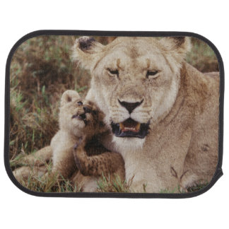 Mother lion sitting with her cub car mat
