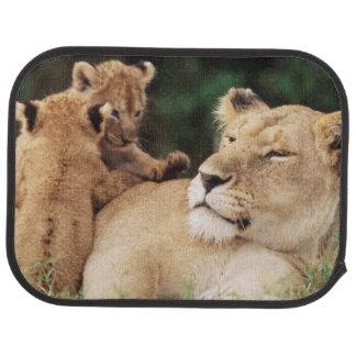 Mother lion with cubs car mat