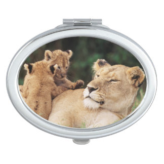 Mother lion with cubs makeup mirror