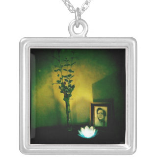 Mother Lotus Square Pendant Necklace