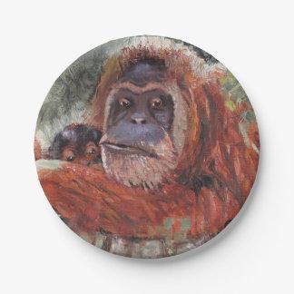 "Mother Love"" Orang-utan and Baby Paper Plate"