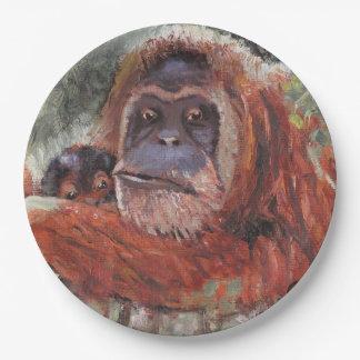 """Mother Love"" Orang-utan and Baby Paper Plate"