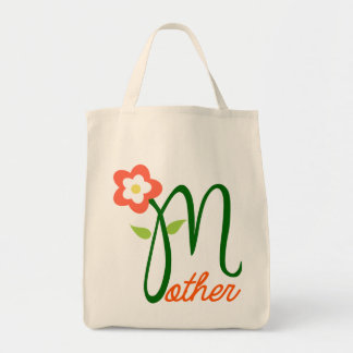 MOTHER/Lovely Flower Floral Typography Design Grocery Tote Bag