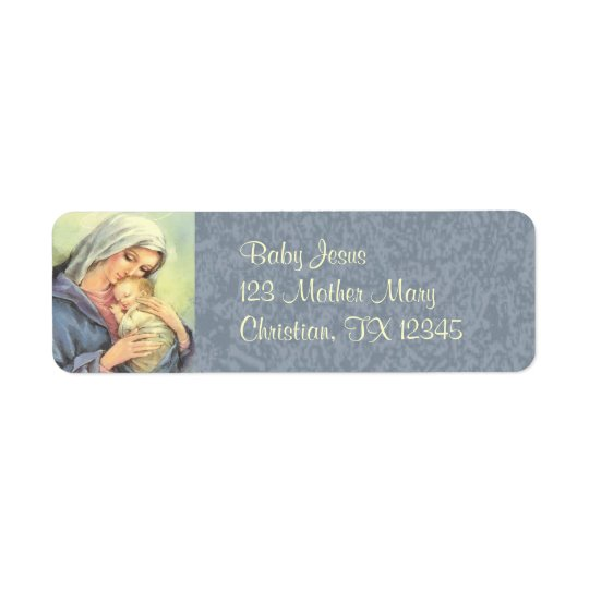 Mother Mary Baby Jesus Faith Return Address Labels