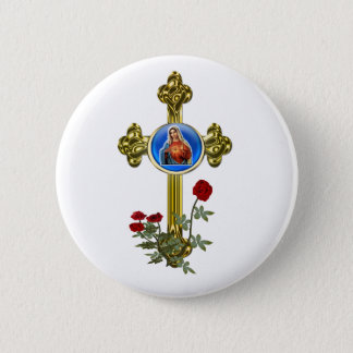 Mother Mary Cross 6 Cm Round Badge