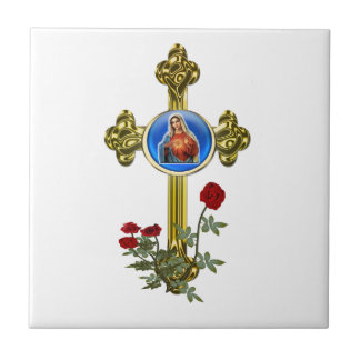 Mother Mary Cross Small Square Tile