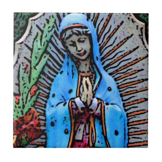 Mother Mary Folk Art Style Tile
