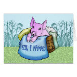 Mother, Mother's Day, Cute Pig in a basket, Welsh Greeting Cards