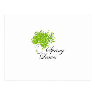 Mother nature with spring leaves as hair postcard