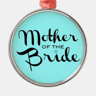 Mother of Bride Black On Aqua Christmas Tree Ornaments