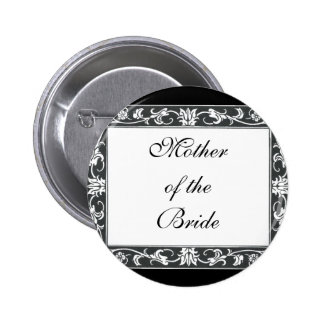 Mother of Bride Damask Pen  Ink  Black White Buttons