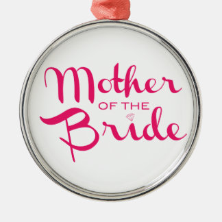 Mother of Bride Hot Pink On White Christmas Ornaments