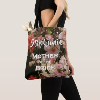 Mother of Bride Personalised Many Flowers Floral Tote Bag