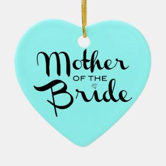 Mother of Bride Retro Script Black On Aqua Ceramic Heart Decoration