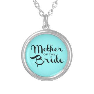 Mother of Bride Retro Script Black On Aqua Silver Plated Necklace