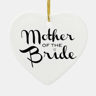 Mother of Bride Retro Script Black on White Ceramic Heart Decoration