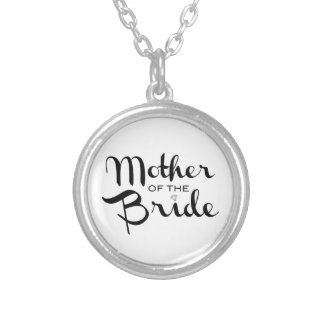 Mother of Bride Retro Script Black on White Silver Plated Necklace