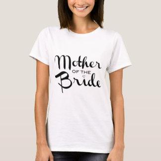 Mother of Bride Retro Script Black on White T-Shirt