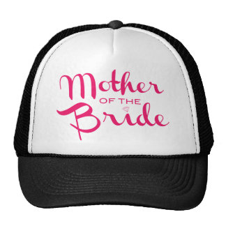 Mother of Bride Retro Script Hot Pink On White Cap