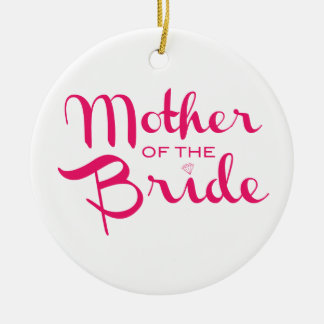 Mother of Bride Retro Script Hot Pink On White Christmas Ornament
