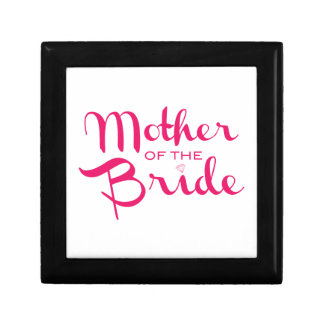 Mother of Bride Retro Script Hot Pink On White Gift Box