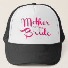 Mother of Bride Retro Script Hot Pink On White Trucker Hat