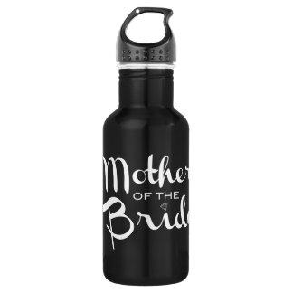 Mother of Bride Retro Script White on Black 532 Ml Water Bottle