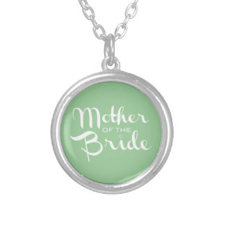Mother of Bride Retro Script White on Green Silver Plated Necklace