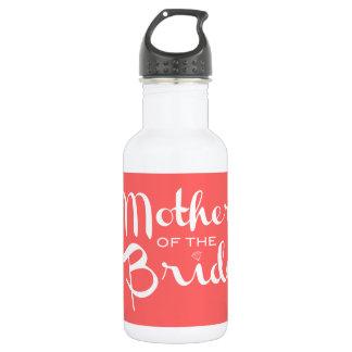 Mother of Bride Retro Script White on Peach 532 Ml Water Bottle