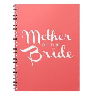 Mother of Bride Retro Script White on Peach Notebooks