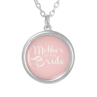 Mother of Bride Retro Script White On Pink Silver Plated Necklace