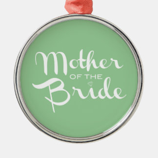 Mother of Bride White on Green Christmas Tree Ornament