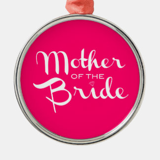 Mother of Bride White on Hot Pink Ornaments