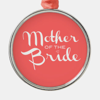 Mother of Bride White on Peach Christmas Tree Ornaments