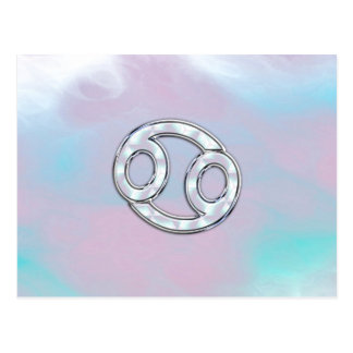 Mother of Pearl Cancer Zodiac Symbol Decor Postcard