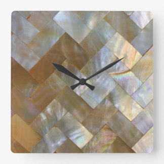 Mother of Pearl Capiz Weave Square Wall Clock