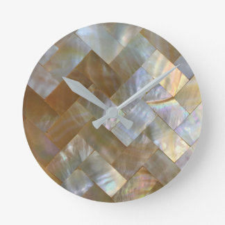 Mother of Pearl Capiz Weave Wall Clocks