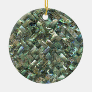Mother of Pearl Mosaic Jade Green Marble Tile Oil Christmas Ornament