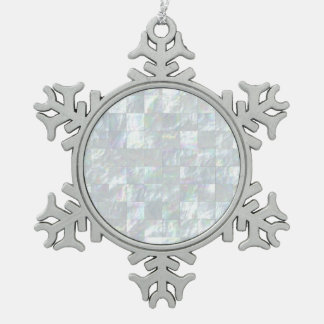 Mother Of Pearl Mosaic Snowflake Pewter Christmas Ornament