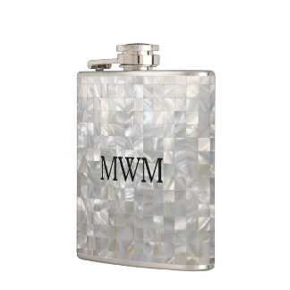 Mother of Pearl Pattern Monogram Hip Flask