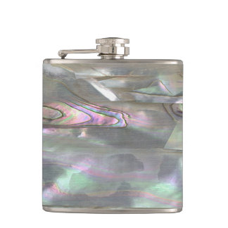 MOTHER OF PEARL Red Abalone Printed Hip Flask