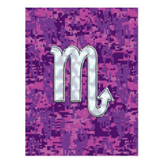 Mother of Pearl Scorpio Zodiac Pink Digital Camo Postcard