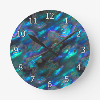 Mother Of Pearl Texture Blue Photo Pattern Wallclock