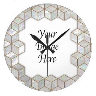 Mother Of Pearl Tiles Frame Clocks