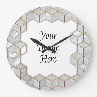 Mother Of Pearl Tiles Frame Large Clock